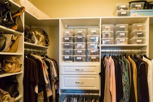 Custom Closet With Bags And Bins